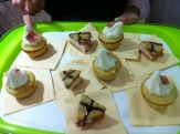 Frozen yogurt filled cupcakes topped with bacon strips
