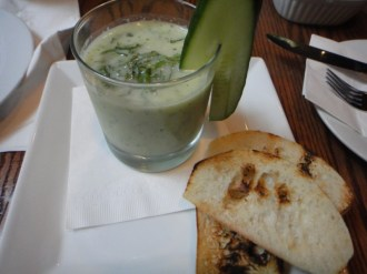 "Cold ""Gin Tonic"" Cucumber Soup"