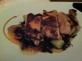 Confit of Chicken Supreme With Cocoa Beans, Bacon, Onions and Brandy Sauce