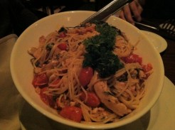 Spaghetti Pollo e Rucola - Grilled Chicken, Baby Arugula, Semi-Dried Cherry Tomatoes, Roasted Garlic, EVOO