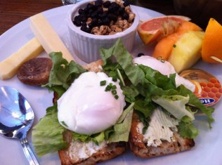 Brunch Sante - Ginger Organic Granola With Cashew Nuts, Yogurt and Blueberries, Poached Eggs on Mesclun Salad on Whole Wheat Toasts, Organic Cheddar Sticks With Figs