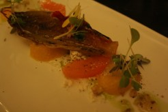 Salad of caramelized Endive over a Goat Cheese mousse, with Citrus Suprême and Roasted Walnuts