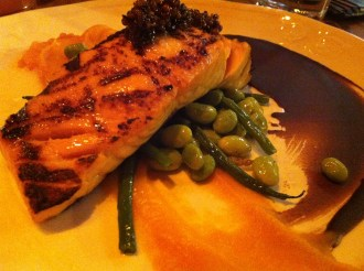 Grilled Salmon with Edamame beans