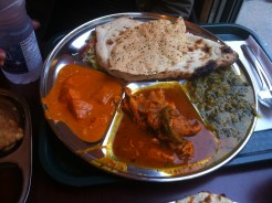 Thali Platter: Butter Chicken, Lamb Curry and Spinach Paneer