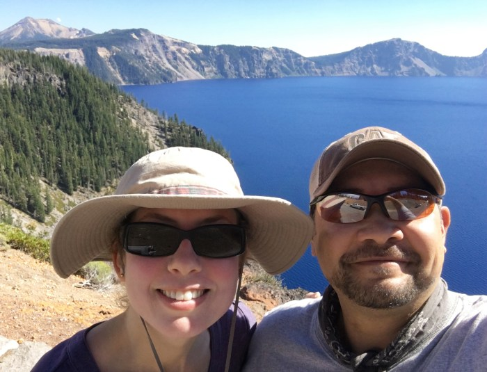 Christina and Michael at the rim of Crater Lake after hiking down to the lake and back