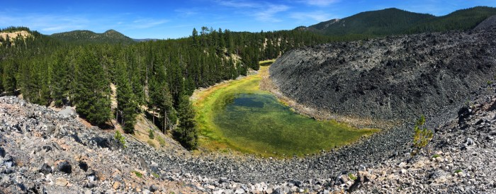View of a pond from Big Obsidian Flow in Newberry National Volcanic Monument