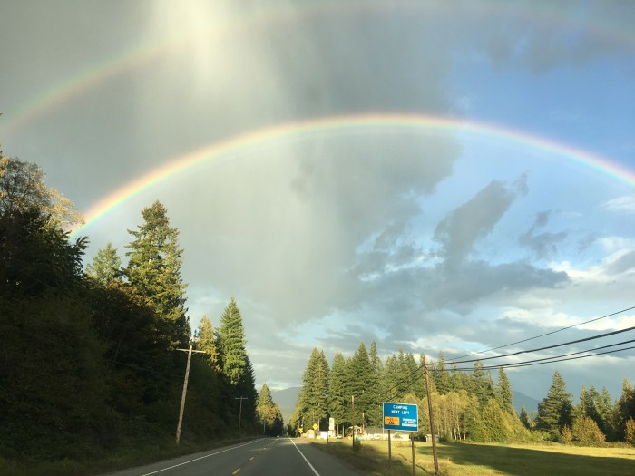 Double rainbow over Route 20 shot through the windshield