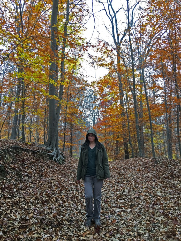 Christina on a trail on Sugarloaf Mountain in Maryland with the leaves in their yellow and orange fall colors and leaves all over the ground