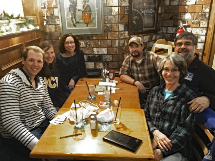Michael and Christina at a table at Dargan's Irish Pub with the Tiffanys and friends