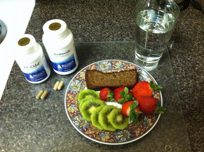 Herbal protocol plus breakfast of low Fodmap fruits and zucchini-almond flour bread