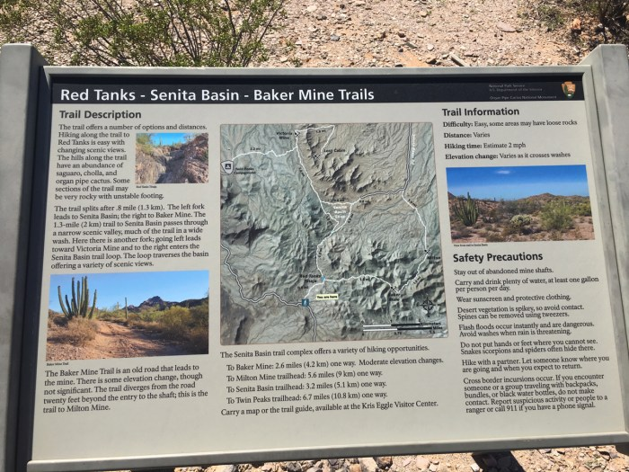 Park sign on the Red Tanks Tinaja - Senita Basin Loop Trails