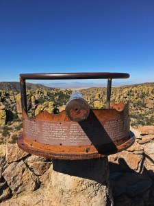 View and viewing scope at Massai Point with the Chiricahua pinnacles in the view
