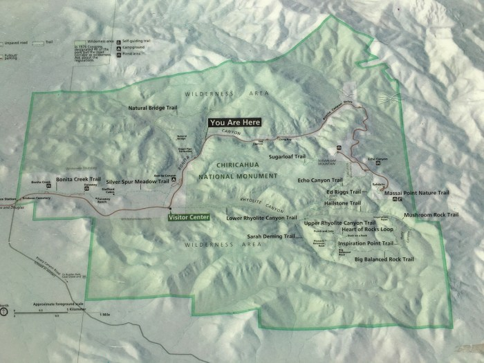 Chiricahua NM road and trail map provided by the National Park Service