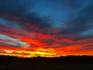 Fiery red and orange sunset