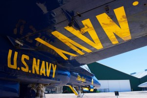 View under the wing of an F18 Hornet