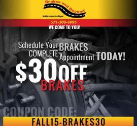 Coupon Code: Fall15-Brakes30