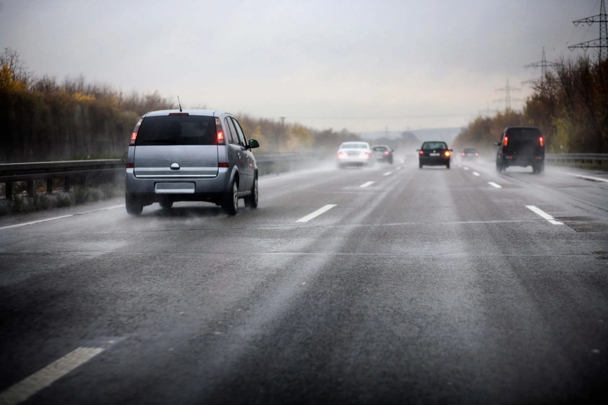 Cars driving on wet road