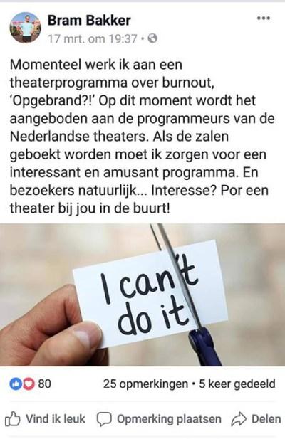 Opgebrand nieuws theaterprogramma Bram Bakker