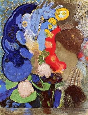 Odiln Redon woman-with-flowers-1903