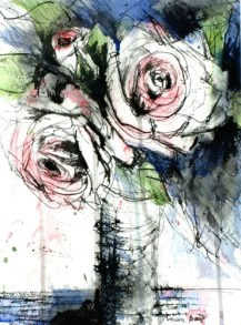 romantic roses stick and ink t