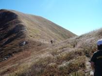 Il sentiero di crinale nei pressi del Passo Guadine