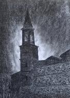 Chiesa di Fornio - notturno - 20x30 carboncino