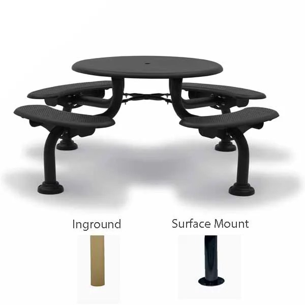 42 round patio picnic table 4 seats camden collection portable surface mount or inground