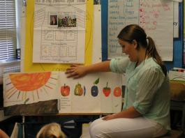 student teacher pointing at a wall chart