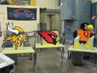 airbrushed mascots, viking, cardinal, oriole