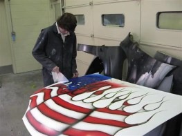 student masking an airbrushed hood