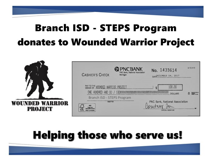 The Wounded Warrior logo and a photo copy of their donated check for $100