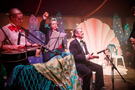 The Codfish Ball's resident Under The Sea band performing in the Spiegeltent