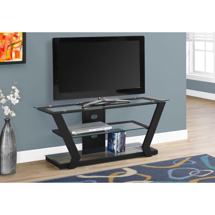 meuble tv 48 l metal noir et verre trempe monarch i 2588