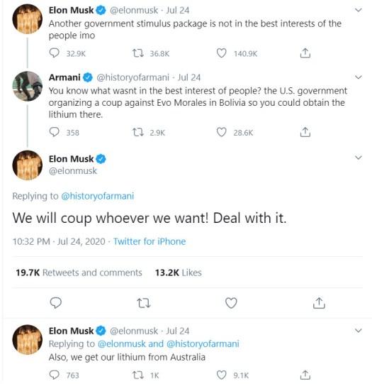 Elon Musk tells truth about Bolivia, Tesla's anti ...