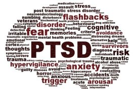 brain-shaped group of words that describe PTSD