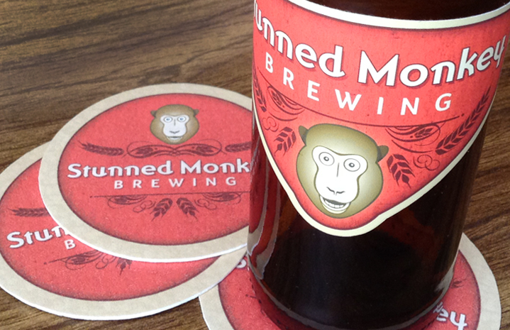 Stunned Monkey Brewing Label+Coaster
