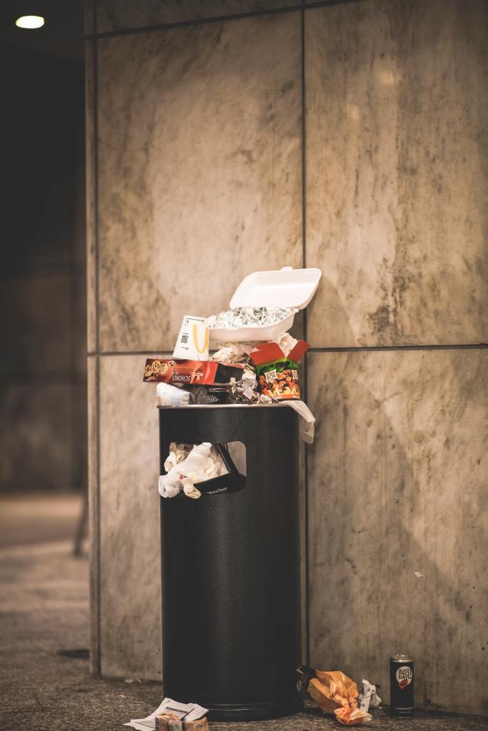 Waste Bin with food packaging