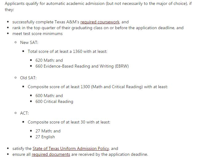be6c4d3a2130 Automatic Admission Requirements at 10 Texas Universities