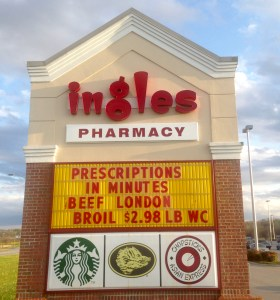 Ingles Market sign with cobranding companies of Starbucks, Boars Heads Meats and Chopsticks Asian Express