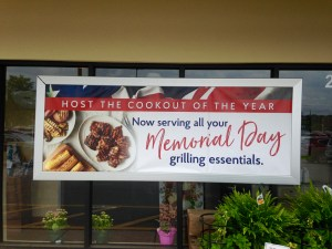 Banner promoting company tying in with Memorial Day to promote their brand