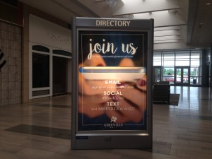 Promotion display to promote brand with email, social, and text