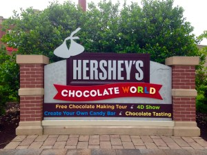 Entrance sign to Hersey's Chocolate World, branding their different experiences they offer to visitors.