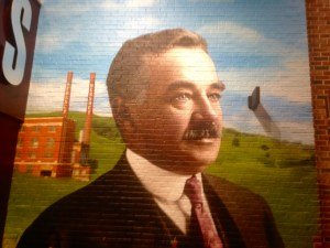 Wall mural of Milton Hershey used to promote the Hershey Brand