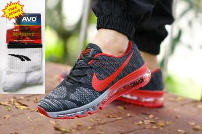 BN0181 Black Red Nike Flyknit Pitsole Full Tab - Rp. 380000