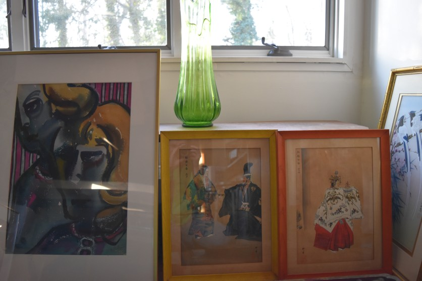 Wood block prints, glass vase, and watercolor