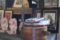 Antique Salt box and unidentifiable sitting animal