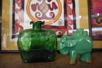 Glass and pottery of elephants