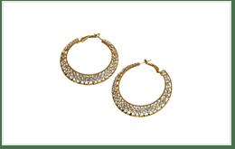 附有碎鑽的K18金圓圈(HOOPS)耳環