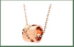 粉金色的GUCCI 古馳商標項鍊