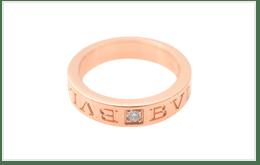 二手BVLGARI寶格麗 雙LOGO 18K玫瑰金戒指